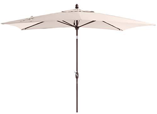 SORARA Parasol Jardin | Beige/Beige | 300 x 200 cm (3 x 2 m) | Rectangulaire Porto Deluxe (Mât Bronzé) | Commande à Manivelle | (Excl. Base)