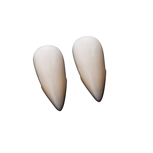 Vampire Fangs Teeth with 4 Sizes Adhesive Halloween Party Cosplay Props, Comes with Teether and Tweezers, Perfect Decoration for Zombies, Werewolves, and Vampires (17mm)
