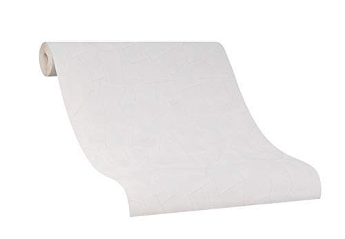 Steintapete weiß - Vlies-Tapete mit Steinoptik - für Schlafzimmer, Wohnzimmer, oder Flur - hell, weiß, beige - Made in Germany - 10,05 m x 0,53m -Novamur