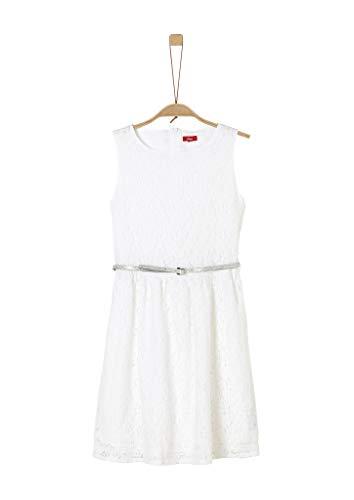 s.Oliver RED LABEL Mädchen Spitzenkleid mit Glitzergürtel white 164.REG