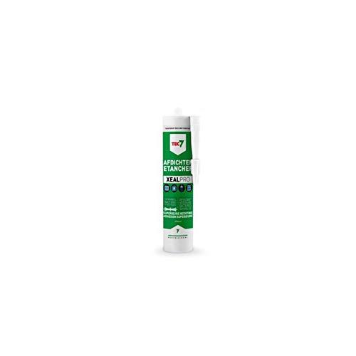 Tec7 XEALPRO/sanitär silikon, allt i ett tätningstyg, monteringstätningsmedel | transparent grå | 310 ml | limning, montering, tätning, för VVS, byggmaterial, betong och natursten, UV-resistent