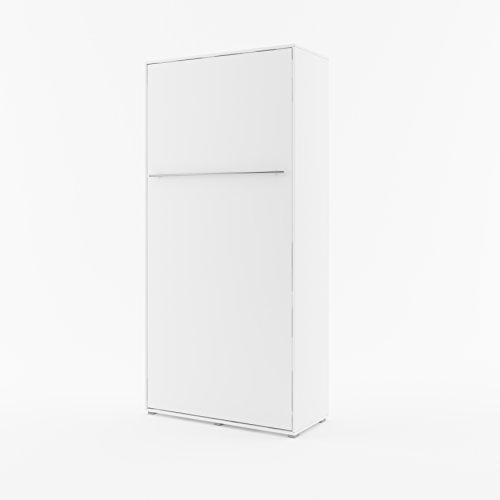 Schrankbett Concept PRO Vertikal, Wandklappbett, Bettschrank, Wandbett, Schrank mit integriertem Klappbett, Funktionsbettl (90x200 cm, weiß matt)