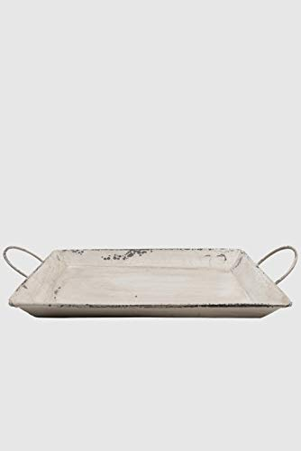 Tablett Emaille Shabby Chic L 26cm mit Griffen Cremefarben Antik Servierschale Schale Obstschale