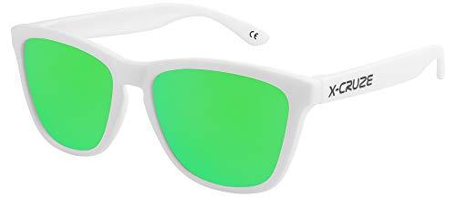 X-CRUZE 9-074 Gafas de sol Nerd polarizadas estilo Retro Vintage Unisex Caballero Dama Hombre Mujer Gafas - blanco mate LS / verde tipo espejo