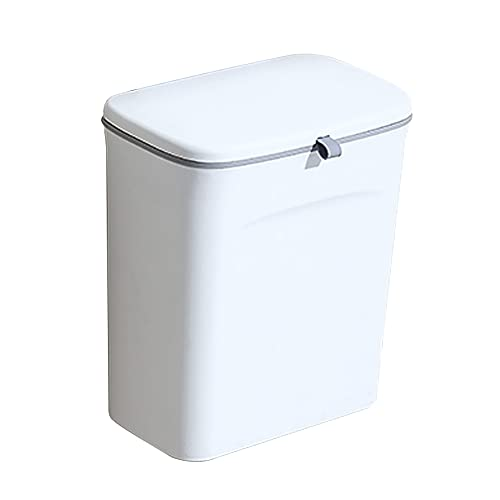 Trash Can Rechteckige Plastikmülltonne   Hängender Schieber Mülleimer   Mülleimer mit Pressring   Küche, Bad und Büro (24 * 13 * 23 / 28cm) (weiß)