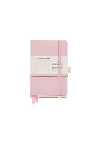 Miquel Rius - Cuaderno Bonito de Notas, Cubierta Rígida Símil Resistente, Cierre Goma, Tamaño 140 x 90 mm, 192 Páginas de 80 g/m², Rayado Horizontal de 7 mm, Color rosa