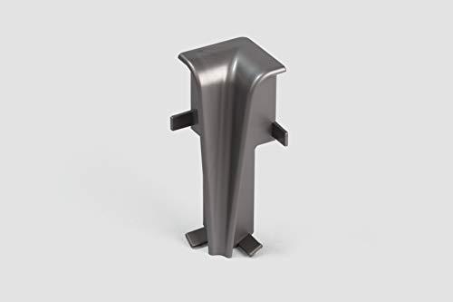 EGGER Innenecke Sockelleiste Universal silber für einfache Montage von 60mm Laminat Fußleisten | Inhalt 2 Stück | Kunststoff robust | Optik silber grau matt Edelstahl