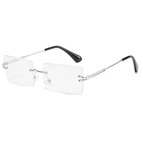 Gafas De Sol Moda Sin Montura Anti-Azul Gafas De Luz Marco Mujeres Vintage Pequeñas Lentes Transparentes Gafas Ópticas para Hombres C5Silver