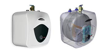 """Ariston Andris 2.5 Gallon 6-Year 120-Volt Corded Point of Use Mini-Tank Electric Water Heater 2 EASILY ACCESSIBLE HOT WATER: Compact designed 8 Gal. mini tank. Provides instant hot water at point of use. 6-year limited warranty on tank, 2-year warranty on parts. Wall or floor mounted unit (wall brackets & rubber feet included). DO IT YOURSELF INSTALLATION: 2000-Watt heating element draws 12 Amp. 65°F-161°F temperature range. CAN FIT VIRTUALLY ANYWHERE: Dimensions (pipes included): 17.5""""W x 17.5""""H x 15.25""""D; Water Connection: 3/4"""" NPT"""