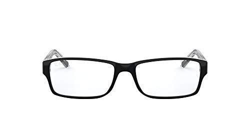 Ray-Ban RX5169 Rectangular Prescription Eyeglass Frames, Black On Transparent/Demo Lens, 52 mm