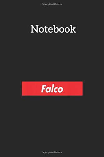 Notebook: Falco Name Red Box Logo Family Reunion Funny Lined Pages Notebook Medium Size 6in x 9in x 115 pages White Paper Blank Journal with Black Cover for Kids or Men and Women Genealogy
