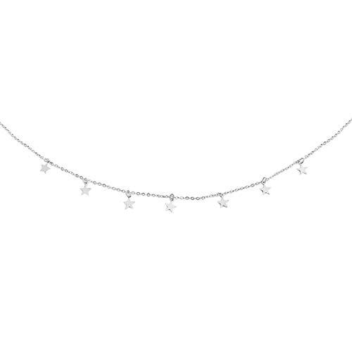 Collana girocollo da donna con ciondoli a forma di stelle, in lega, colore argento