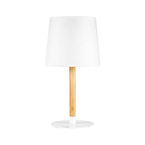 Pauleen 48103 Woody Cuddles Tischleuchte max20W E27 skandinavische Tischlampe Weiß Tischlampe 230V Holz/Stoff