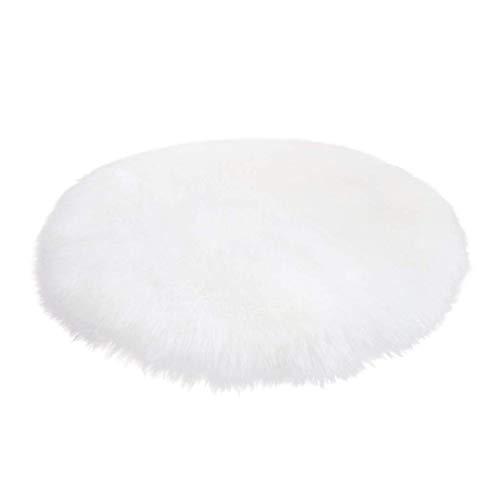 Alfombra de piel de oveja sintética de Fineblue, muy suave, imitación de piel de cordero, imitación de pelo largo, color blanco, 160 cm redondo