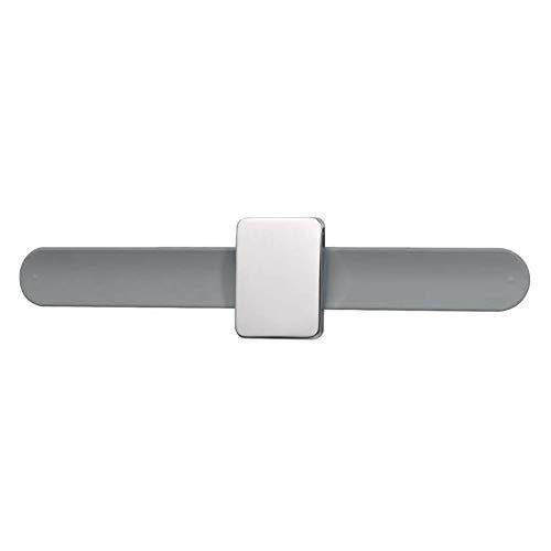 Moligin - Soporte magnético para alfiler cuadrado con correa de silicona para la muñeca, color gris