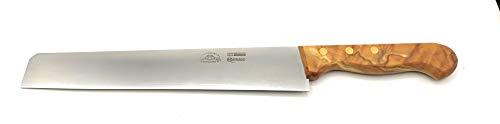 Cuchillo Salumi y embutidos realizado artesanalmente hoja satinada 24 cm. Mango madera natural | Navaja Pascotto – Doi Leons – Fabricado en Italia (madera natural de olivo)