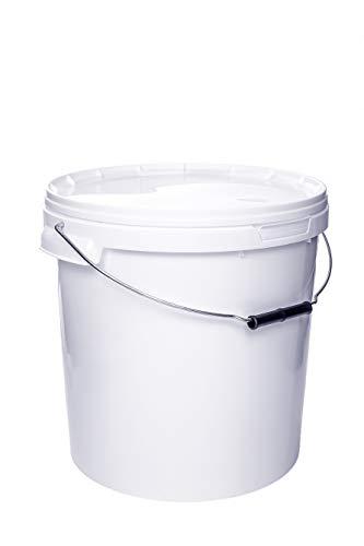 Eimer mit Deckel WEISS Kunststoffeimer Deckel Henkel Lebensmittelecht Hochwertiger (5, 20 Liter)