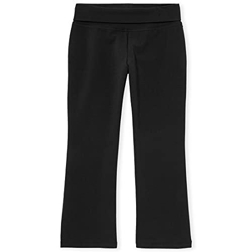 The Children's Place girls Uniform Active Foldover Waist Pants, Black, 7 8 US