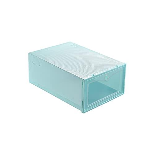 ZIS Caja de zapatos gruesa, caja de zapatos transparente, de plástico, tipo cajón, a prueba de humedad y a prueba de polvo (color verde, tamaño: grande)