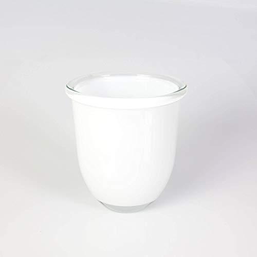 INNA-Glas Pot à orchidée - Vase Rond en Verre Fynn, Blanc, 15cm, Ø 13,5cm - Photophore en Verre - Vase Design