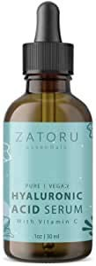 Zatoru Hyaluronic Acid Serum with Vitamin C for Face and Skin - 100% Pure Organic Vegan for Anti-aging Moisturizing and Protection - Clinical Pro Formula - 1 oz
