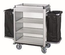gastlando Roomservice Zimmerservicewagen mit 2 x Wäschesack, ALU-Profil, MDF-Platten ALU