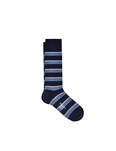 Hackett London Mens Regimental Stripe Socks, 5CYNAVY/Grey, ML