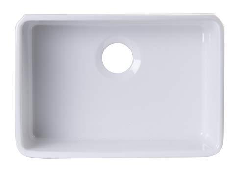 ALFI brand AB503UM-W White Single Bowl Fireclay Undermount Kitchen Sink, 24'