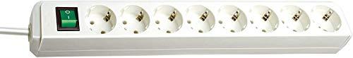 Brennenstuhl Eco-Line, Steckdosenleiste 8-fach (Steckerleiste mit erhöhtem Berührungsschutz, Schalter und 3m Kabel) weiß