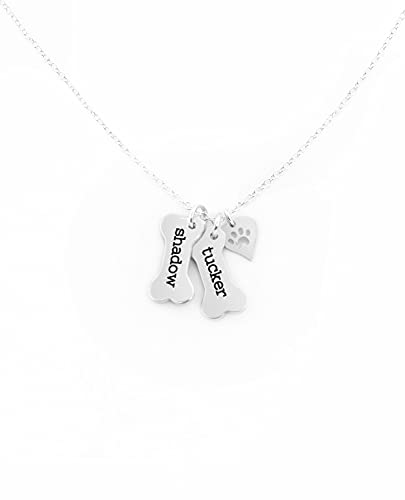 Custom Dog Bone Memorial Necklace With 925 Sterling Silver Paw Print Charm - Memorial Necklace With Personalized Names For Dog Lovers - Pet Jewelry Puppy Animal Pendant