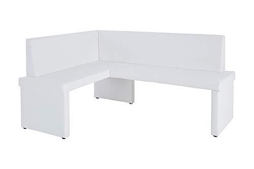 HOMEXPERTS Eckbank rechts MULAN / Moderne Sitzbank mit Lehne in Weiß / Küchen-Bank gepolstert / Vintage Lederimitat / Eckbankgruppe langer Schenkel rechts / 125x165cm / 82x54cm (HxT)