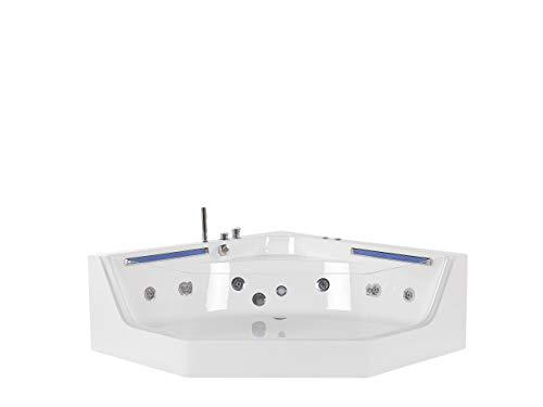 Beliani Balneario de esquina moderno bañera de hidromasaje acrílico blanco hidromasaje chorros caceres