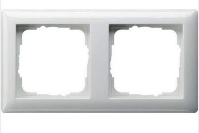 GIRA System 55 Standard E2, Reinweiß glänzend, Steckdose Schalter Rahmen Wippe (021203 Rahmen 2-fach, 1 Stück)