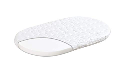 Träumeland T030303 Materasso Wash per Cesta, 37 x 70 x 5 cm (Ovale), White