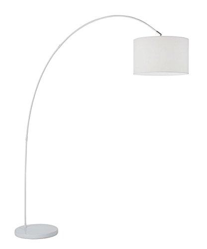 Lampada da terra ad arco modello 6304B Perenz Questa lampada da terra e realizzata con una montatura in metallo verniciato bianco e paralume in stoffa
