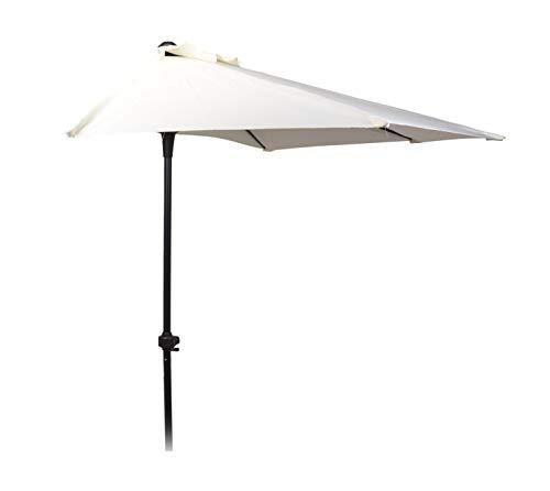 Halbrunder Wand Sonnenschirm - 250cm / weiß - Wandschirm halbrund Balkon Schirm