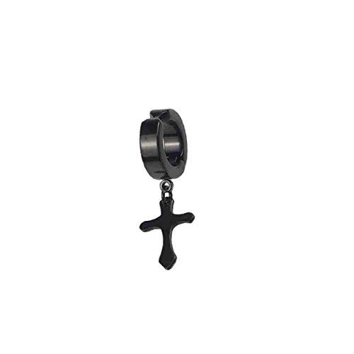 Tsubaya Diseño Cruzado de Moda Vintage Hombres Ganchos para la Oreja de Metal Pendientes de Clip sin Piercing Pendientes Falsos para Amante del Novio - Negro