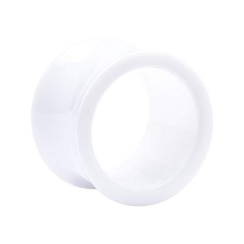 Crazy Factory Double Flared Tube aus Acryl   14mm • Weiß • Piercing • Ohr • Günstig • Basic