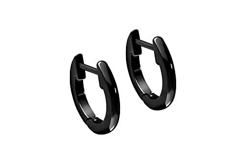 Pendientes de acero quirúrgico, anillo ligeramente grueso color negro.