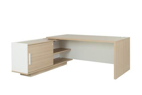 Bureau avec Retour Gauche Gautier Collection Brabant Largeur 180 cm, Finition Chêne Naturel/Blanc
