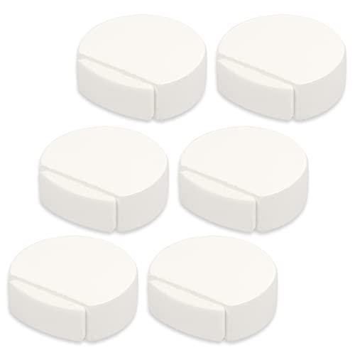 Kukicu Topes para Puertas Blanco - Tope Puerta Adhesivo de Madera para Suelo - Elegante y Resistente - Pack 6 unidades