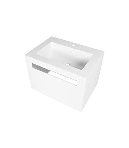Porcelanosa Wonduu Lavabo Blanco Cuadrado De Resina