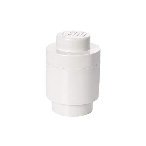 LEGO Aufbewahrungsstein, 1 Noppe, rund, Stapelbare Aufbewahrungsbox, 950 ml, weiß