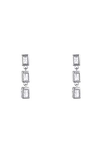 Córdoba Jewels | Pendientes en Acero inoxidable con diseño Trio Rectangles Zirconium Silver