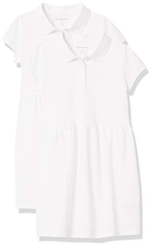Amazon Essentials Girls' Short-Sleeve Polo Dress Playwear, Paquete de 2, color blanco, 4 aÒos