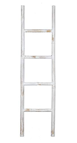 Escalera decorativa de bambú, color blanco, 150 x 40 cm, estilo shabby chic