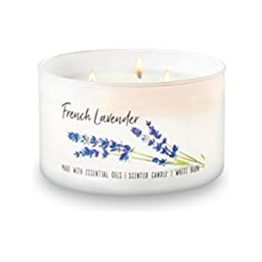 Bath and Body Works White Barn 3 Wick Low Profile Scented Candle French Lavender 14.5 Ounce with Essential Oils