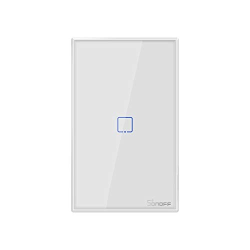 Yangeryang Interruptor de 120 mm Vía Templado Panel de Pared de Vidrio Smart Home Luz Touch Switch, Compatible con Alexa y Google Inicio, CA 90V-250V 2A, Enchufe de EE.UU.