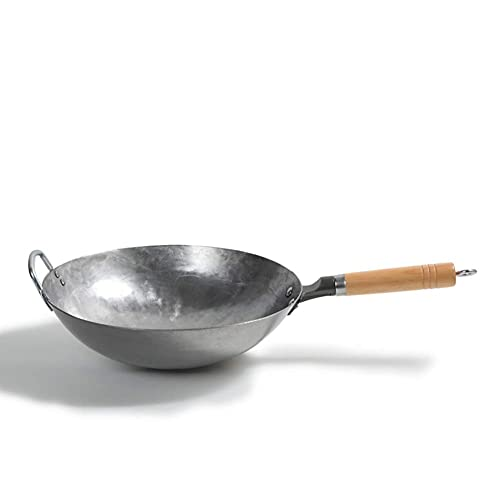 cvhtroe 14 Inch Carbon Steel Pan, Authentic Hand Hammered Wok with Wooden and Helper Handle, Round Bottom