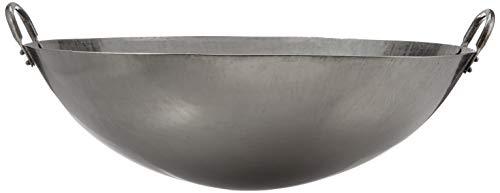 JADE TEMPLE Wok en Acero al Carbono con Base Redonda de 45 cm de diámetro y Doble Mango, Metal, Gris, 50 cm